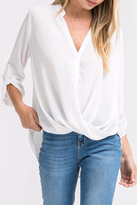 Lush White Twist-Front Shirt