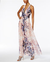 SL Fashions Floral-Print A-Line Gown
