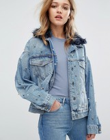 Pull&Bear Studded Faux Fur Collar Denim Jacket