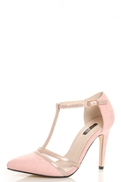 Quiz Pink Faux Suede Shimmer T-Strap Courts