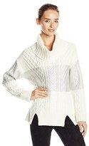 BCBGMAXAZRIA Women's Mekiya Cable-Knit Sweater with Metallic Color-Block