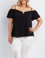 Charlotte Russe Plus Size Notched Cold Shoulder Top
