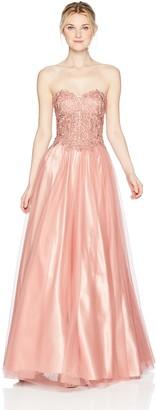 Blondie Nites Women's Long Strapless Bustier Applique Ballgown