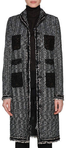 Giambattista Valli Notched-Collar Button-Front Tweed Jacket w/ Lace Patch Pockets