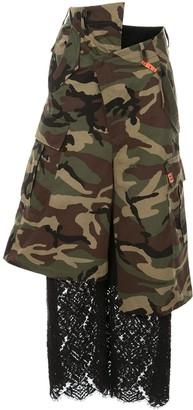 Maison Mihara Yasuhiro Lace Camouflage Cropped Trousers