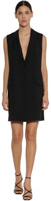 MSGM Cool Virgin Wool Buttoned Vest Dress