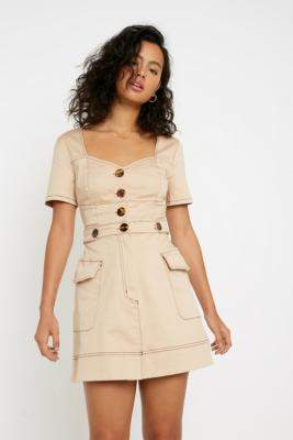 Finders Keepers Venice Button-Through Mini Dress - white XS at Urban Outfitters