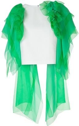 DELPOZO Ruffled Tulle Cropped Blouse