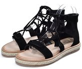 PPXID Big Girl's Women's Suede Leather Straw Linen Flats Roman Gladiator Sandals- 42 CN