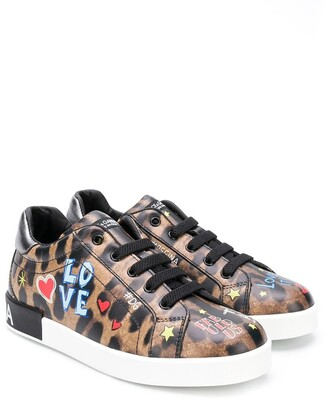 Dolce & Gabbana Kids Leopard Print Sneakers