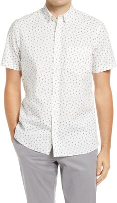 1901 Trim Fit Print Short Sleeve Button Down Shirt