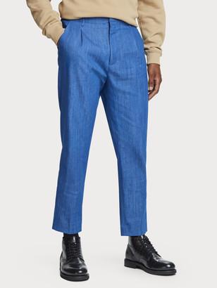 Scotch & Soda 100% cotton mid-rise pleated suit pants   Men