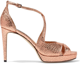 Sergio Rossi Sr Gydda Metallic Snake-effect Leather Platform Sandals