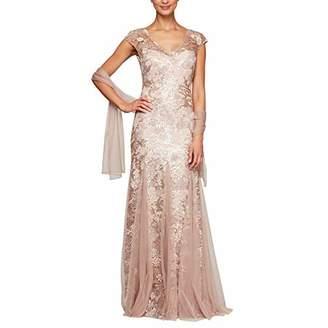 Alex Evenings Women's Long Fit and Flare Dress Godet Detail Regular