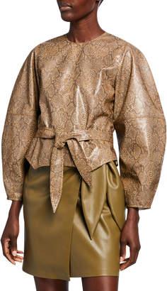 Nanushka Corsa Snake-Print Vegan-Leather Long-Sleeve Top