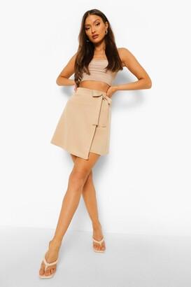 boohoo Wrap Scuba Mini Skirt