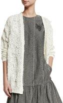 Brunello Cucinelli Open-Knit Boyfriend Cardigan Sweater, White