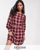 Stradivarius dress with frill detail in red check