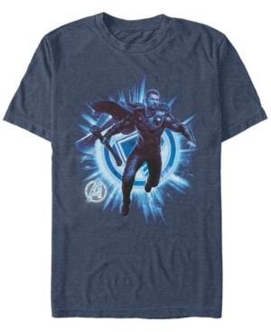 Marvel Men's Avengers Endgame Thor Lightning Action Pose, Short Sleeve T-shirt