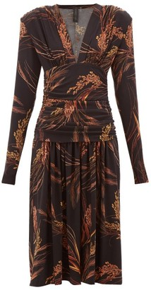 Norma Kamali Exaggerated-shoulder Wheat-print Dress - Womens - Brown Print