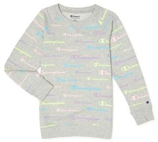 Champion Girls All Over Logo French Terry Crew Sweatshirt, Sizes 7-16