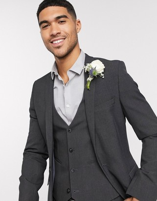 ASOS DESIGN wedding super skinny suit jacket in charcoal four way stretch