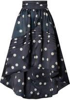 Ganni Asymmetric Polka-dot Silk-organza Skirt - Navy