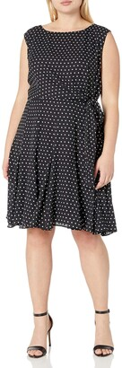 Tahari by Arthur S. Levine Plus Size Cap Sleeve Polka Dot Dress Womens