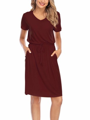 MUTOTO Womens Adjustable Spaghetti Straps V Neck Plain Casual Summer Beach Sundress Swing Mini Dress - - Large