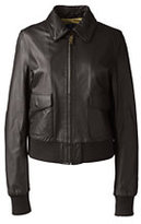 Lands' End Women's Leather Bomber Jacket-Merlot/Light Graphite