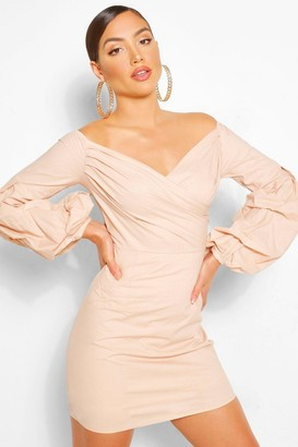 boohoo Off The Shoulder Wrap Shift Dress