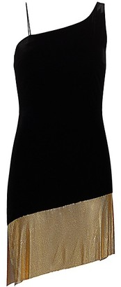 CDGNY by CD Greene Velvet Chainmail Trim Mini Dress