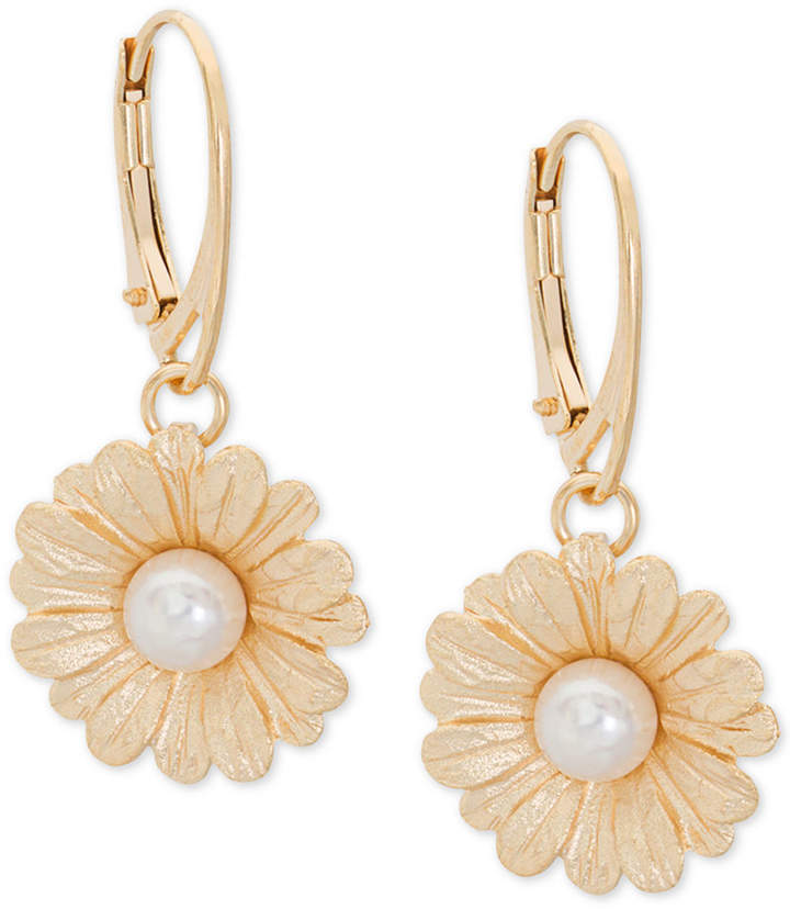 Giani Bernini Cultured Pearl (6mm) Daisy Drop Earrings in 18k Gold-Plated Sterling Silver, Created for Macy's