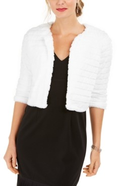 Robbie Bee Petite Textured Faux Fur Shrug