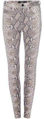 Hudson Barbara Python Print Leather Ankle Skinny Pants