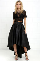 Gracia Modern Mystery Black Satin High-Low Skirt
