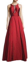Aidan Mattox Sleeveless Pleated Taffeta Gown