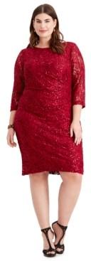 Jessica Howard Plus Size Ruched Embellished Lace Dress
