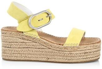 Rag & Bone Ansley Suede Buckle Espadrille Platform Wedge Sandals