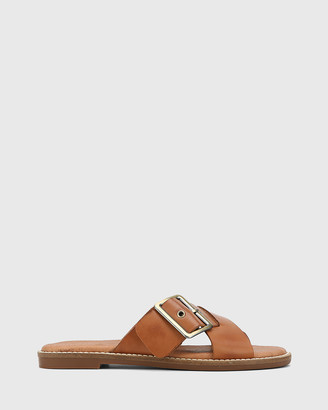 Wittner - Women's Brown Flat Sandals - Clooney Leather Crossed Strap Buckle Slides - Size One Size, 41 at The Iconic