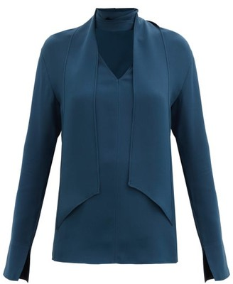 Joseph Bethan Scarf-neck Silk-georgette Blouse - Dark Blue