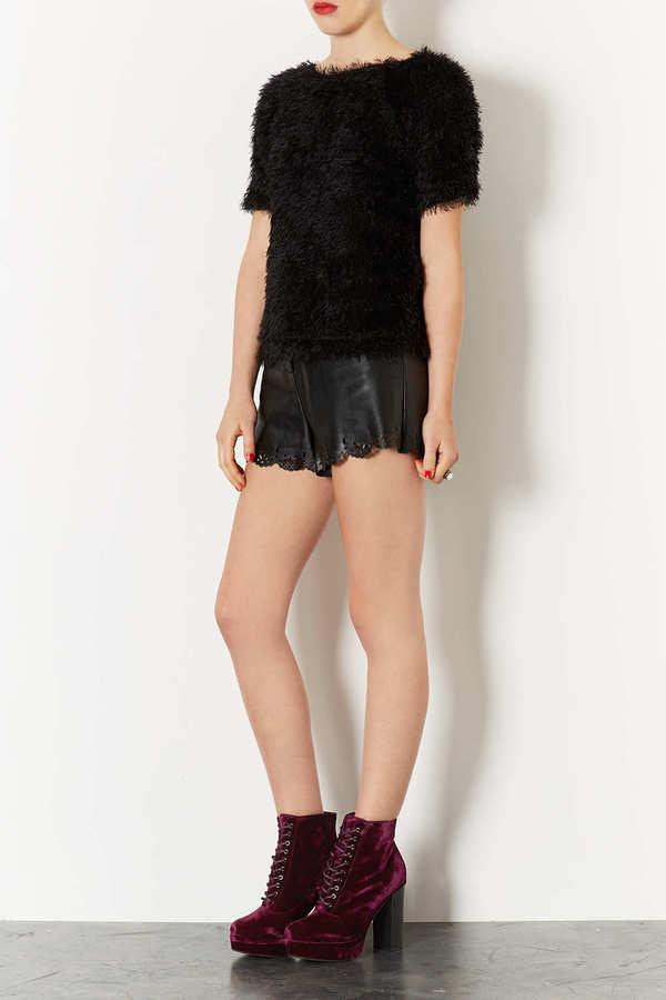 Topshop ALPY Velvet Lace Up Boots