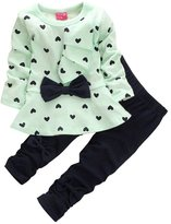 Donalworld 2PCS Kid Girl Heart Bowknot Outwear Pants Suit Outfit Clothes