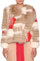 Agnona Mixed-Fur Short Jacket, Oatmeal