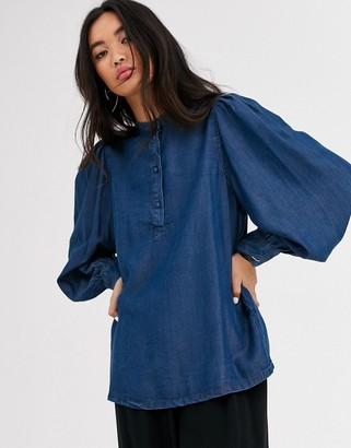 Selected denim blouse with balloon sleeve-Blue