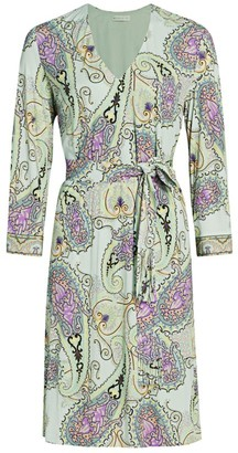 Etro Belted Paisley V-Neck Dress