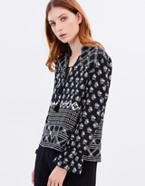 Whistles Aaliyah Crosshatch Print Silk Top