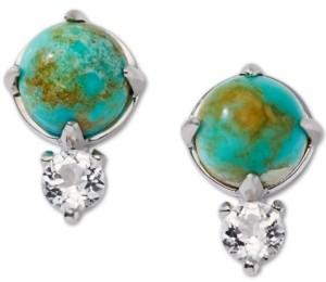 AVA NADRI Silver-Tone Turquoise (8mm) & Crystal Stud Earrings