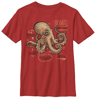 Fifth Sun Boys' Tee Shirts RED - Red Octopus Facts Crewneck Tee - Boys