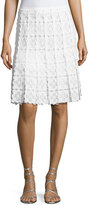 Elie Tahari Tyler Floral-Lace A-Line Skirt, White